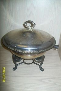 Silver Plate Wm A Rogers Silver Co 4 Piece Casserole Chafing Set Heavy 3 Footed