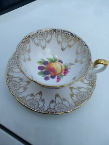 Shelley Peach Grapes Gold Tea Cup Gold Peach Grape Teacup England
