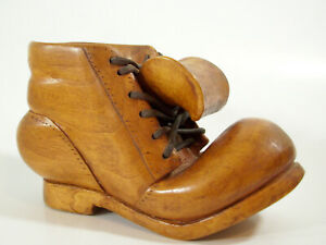 Hand Carved Wood Shoe W Laces Folk Art Signed Wooden Vintage Beautiful Grain