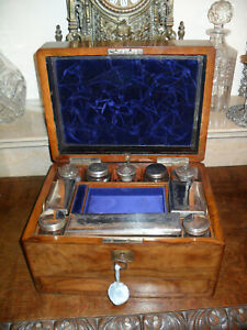 Antique 19th Century Victorian Rosewood Wooden Vanity Box With Lock And Key