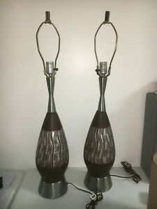 1960s Mid Century Modern Genie Bottle Brown Pottery Silver Metal Lamps Pair