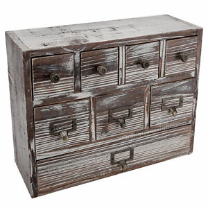 13 inch Weathered Whitewashed Brown Wood Desktop Organizer 8 Drawer Cabinet