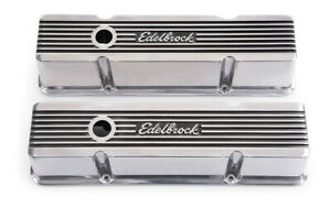 Edelbrock Valve Cover Kit Elite Ii Series Sbc Tall P N 4263