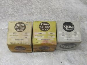 Vintage Lot Of 3 Vintage kester 44 resin core solder dia 031 Core 66