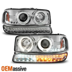 For 1999 2006 Gmc Sierra Yukon Halo Projector Head Lamps Pair Led Signal Lamps
