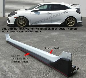 New 17 18 Honda Civic Hatch 5dr Type r Style Side Skirt Extension Pp Carbon Look
