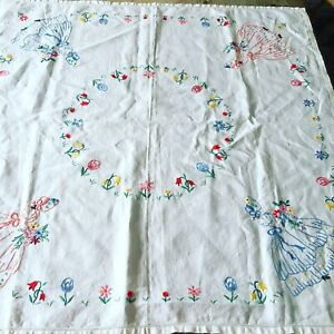 Pretty Vintage Hand Embroidered Crinoline Lady Linen Table Cloth