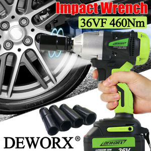 Lithium Ion 1 2 High Torque Cordless Impact Wrench Rattle Nut Gun Fast Charge