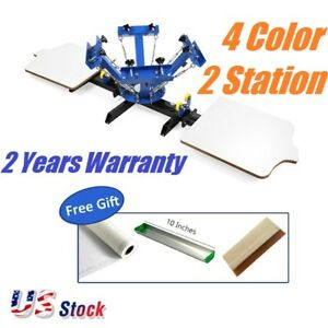 Us Stock Silk Screen Printing Equipment For T shirt Printing 4 Color 2 Station