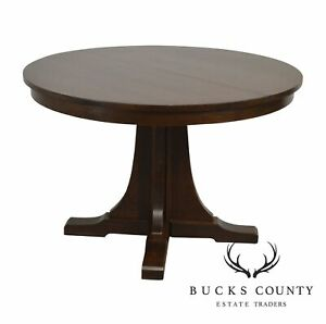Stickley Mission Collection 46 Round Oak Dining Table W 2 Leaves