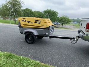 Atlas Copco Xas 185 Towable Air Compressor 1139 Low Hours john Deere Engine