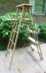 Vintage Wood Folding Ladder Unusual And Interesting 57 Tall