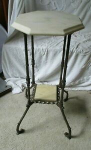 Vintage Victorian Cast Iron W Marble Plant Stand Table Home Decor Brass Accent