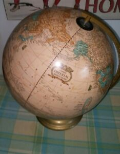 Vtg Cram S Imperial World Globe On Stand Ancient Seas 12 D