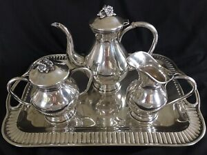 Lovely Vintage 900 Silver Colombian Florentina Tea Set 4 Pieces With Tray