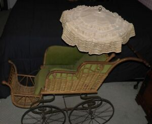 Antique Pram Wicker Rattan Baby Buggy Carriage Wakefield Large Size Victorian