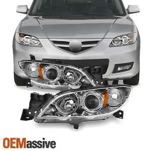 Fits 2004 2009 Mazda 3 Sedan 4door Halogen Models Chrome Headlights Lh Rh Pair