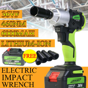 6000mah Electric Cordless Impact Wrench Led Powerful Tool High Torque 2 Battery