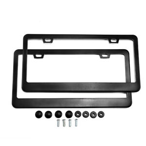 2 Pack License Plate Frame Aluminum Car Licenses Plate Covers Holders Screw Caps