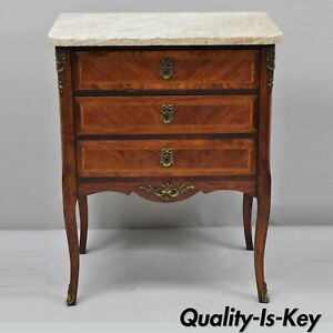 Early 20th C French Louis Xv Marble Top Nightstand End Table W Bronze Ormolu
