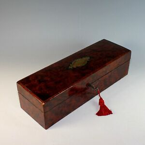 Antique French Amboyna Burl Wood Satin Lined Box With Working Key