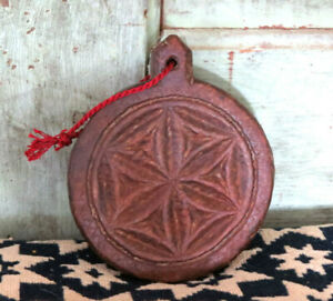 Old Primitive Geometric Butter Mold Round Carved Wood Wooden Butter Stamp Press