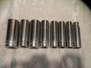 Vintage Snap On Tools Set Of 8 Sae 1 2 Drive Deep 12 Point Sockets Great