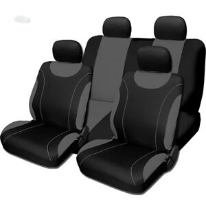For Nissan New Sleek Black And Grey Flat Cloth Car Truck Seat Covers Set