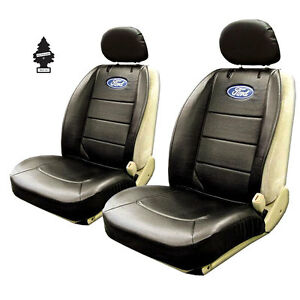 New Pair Of Black Vinyl Ford Logo Car Truck Suv Front Sideless Seat Covers