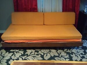 Mid Century Modern Couch Daybed With Trundle And Swivel Coffee Table Chic