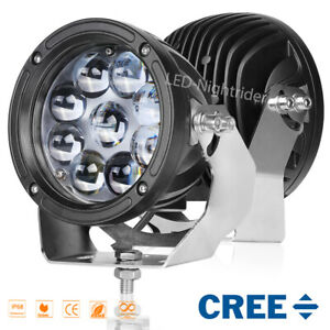 2pcs 6 Round Led Driving Lights Cree Spot Pods Work Lamp Off Road Truck Pickup