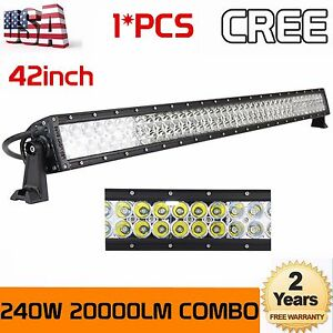 240w 42 In Led Work Light Bar Combo For Jeep 4wd Tractor Offroad Boat Suv 40 44