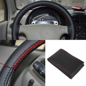 Black Red Pu Leather Diy Car Steering Wheel Cover 38cm With Needle And Thread Kw