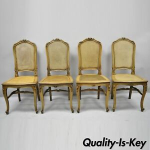 4 Antique French Provincial Louis Xv Style Carved Walnut Cane Dining Chairs