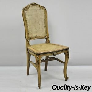 One Antique French Provincial Louis Xv Style Carved Walnut Cane Dining Chair