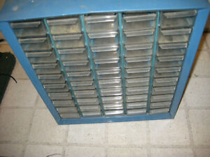 Vintage Akro mils Metal Cabinet Parts Organizer Storage Unit Large 50 Drawer