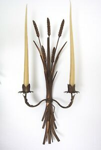 Pair Of Large 25 Vintage Italian Florentine Tole Gilt Wheat Wall Candle Sconces