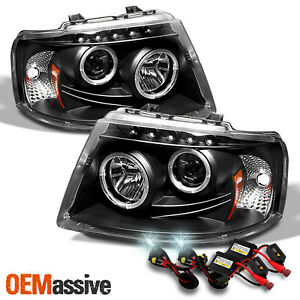 Fits 03 06 Ford Expedition Black Dual Halo Projector Led Headlights 6000k Hid