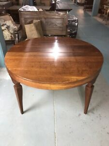 Vintage Mid Century Modern Baker Furniture Fruitwood Dining Table 54 Round 94