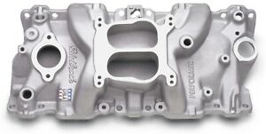 Edelbrock 2104 Performer Series Intake Manifold Cast Idle 5500rpm 4 Bbl Carbs