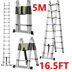 Folding 16 5ft Multi Purpose Telescopic Extension Ladder Aluminum Heavy Duty New