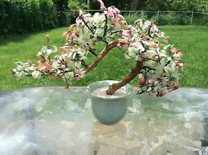 Vintage Asian Jade Agate Glass Leaves Flowers Bonsai Tree Celadon Vase 20x14