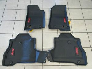 Jeep Gladiator Jt Black Rubber Floor Mats With Red Jeep Logo New Oem Mopar