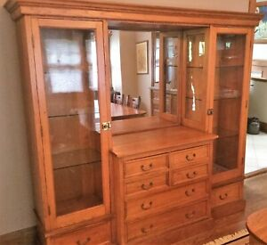 Antique C1920s Large Oak Cabinet Buffet Sideboard Original Hardware