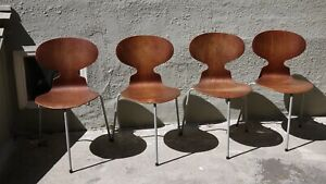 Arne Jacobsen Ant Chair 1952 First Edition Rare Vinyl Wrapped Legs Set Of 4