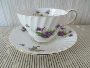 Antique Stanley Spring Violets Bone China Cup And Saucer