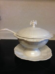 Lane Co American Eagle Stars Soup Tureen Stoneware With Plate White