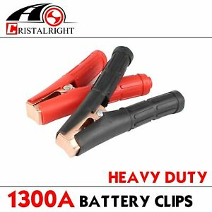 Pair 1300 Amp Heavy Duty Battery Clamps Clips Jumper Cables Boosters Protective