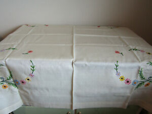 Antique White Embroidered Floral Linen Tablecloth 40 X 40