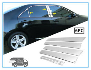 Fit 2012 2014 Toyota Camry 6pcs Stainless Steel Chrome Pillar Post Trim Cover